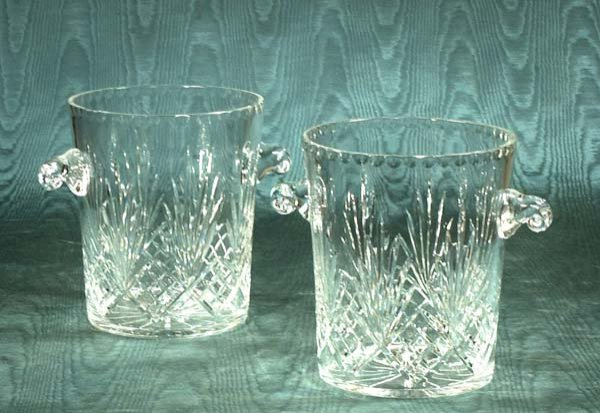 454: Pair of cut crystal champagne coolers with scroll