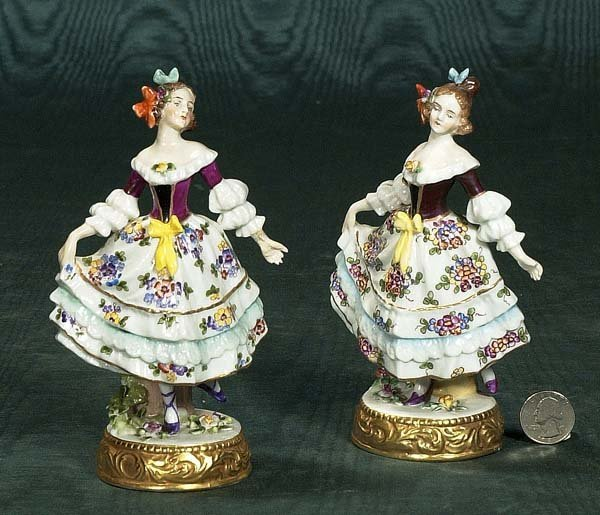 456: Fine pair of German Dresden porcelain figurines de