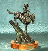 Superb contemporary Western bronze sculpture depic