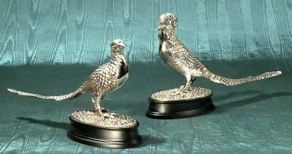 "1001: Pair of silver plated pheasants, 18"" long, 11"" hi"