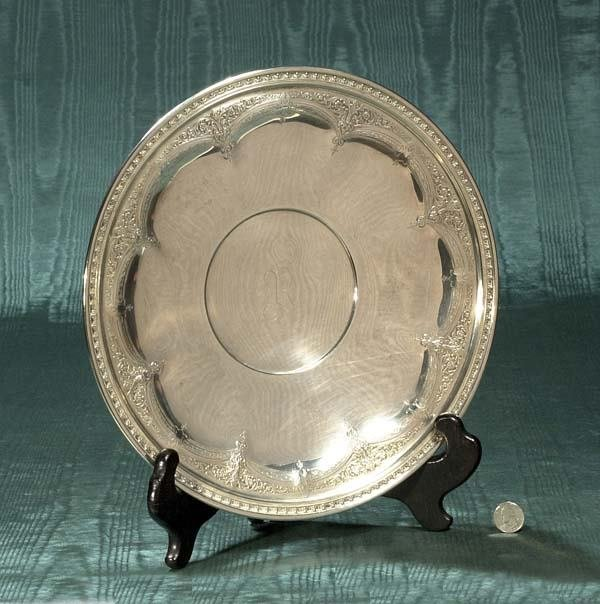 """1008: Sterling silver footed dish, 13-1/2"""" diameter"""