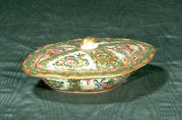 1012: Chinese Rose Medallion oval covered dish with fig