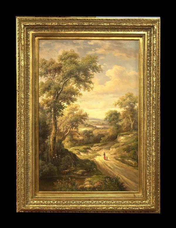 1016: Oil painting on canvas, vertical landscape scene