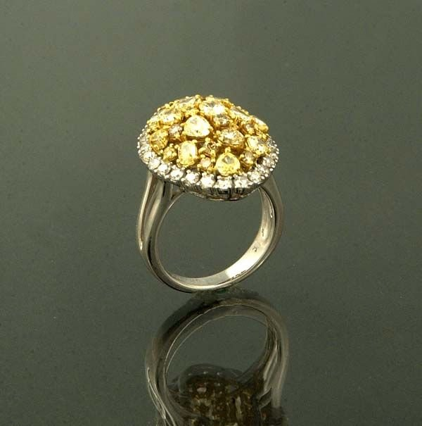 1017: 18 kt. white gold ring with 57 fancy shaped yello