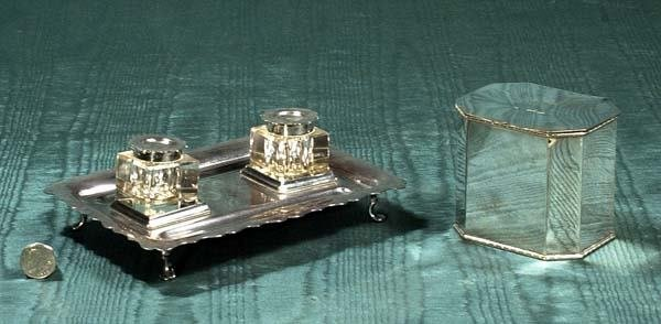 """1018: Mappin and Webb"""" silver plated ink stand with two"""