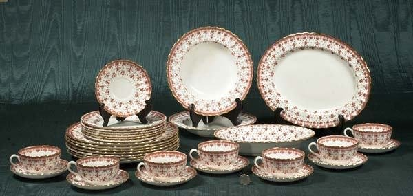 1019: Group of Spode china in the Fleur de Lis red patt