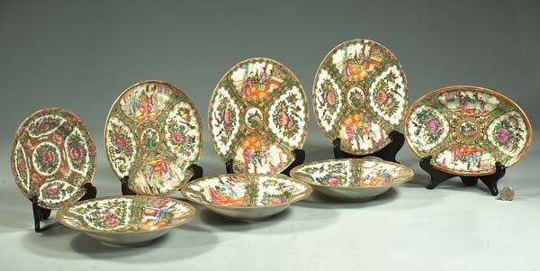2: Group of three Rose Medallion bowls, three plates, o