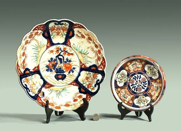 "3: 12"" Imari charger with urn and floral decoration and"