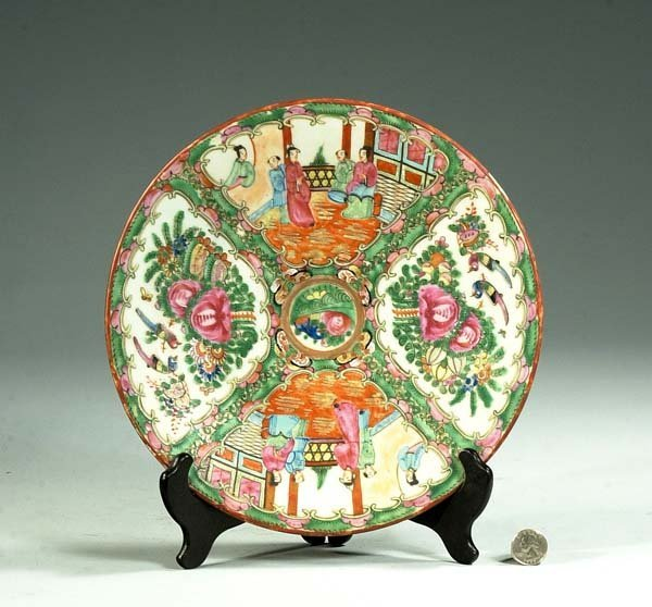 4: Chinese Rose Medallion charger with bird and floral