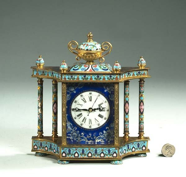 6: Cloisonné mantle clock with multicolor enamel decora