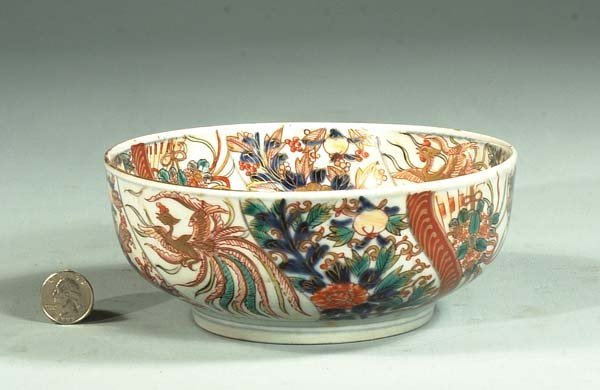 8: Imari porcelain bowl with pheasant and floral decora
