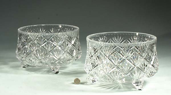"12: Two footed cut crystal fruit bowls  12"" diameter 7"