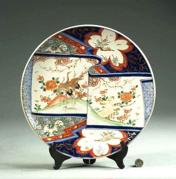 13: Imari porcelain charger with bird and floral decora