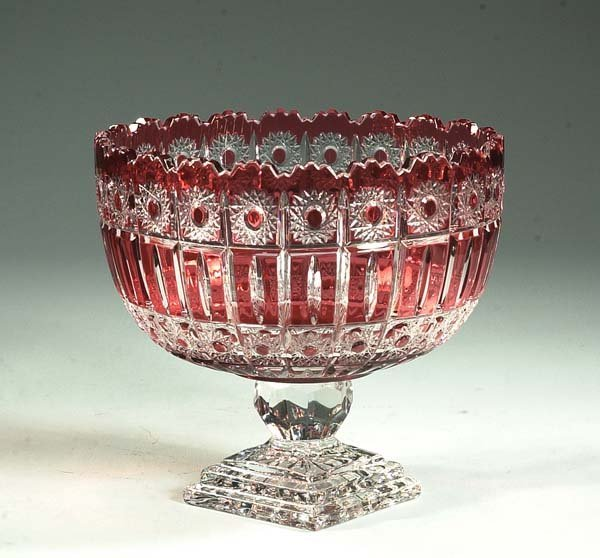 14: Cut crystal cranberry overlay compote with scallope