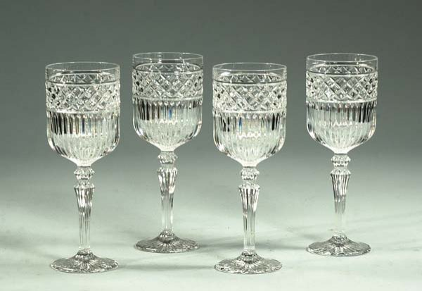 17: Set of 12 large crystal wine goblets