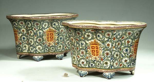 24: Pair of Chinese porcelain planters with coat of arm