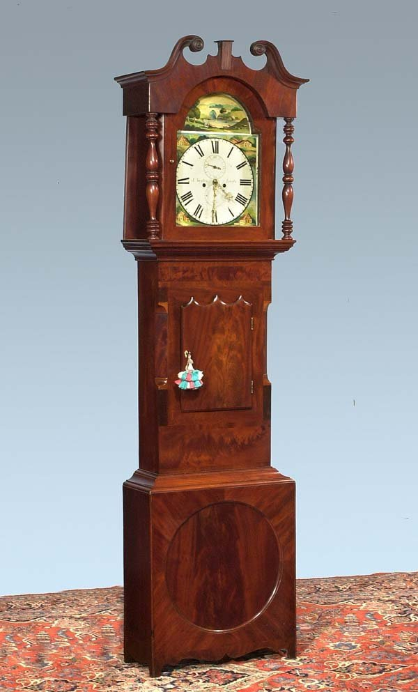 "207: Sheraton mahogany grandfather clock, signed ""J. Na"