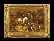 234 Oil painting on canvas English fox hunting scene