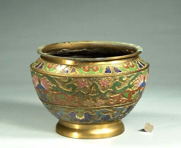 1003: Chinese cloisonné planter with multicolor enamel