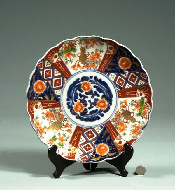 1004: Imari porcelain charger with cobalt blue, green,