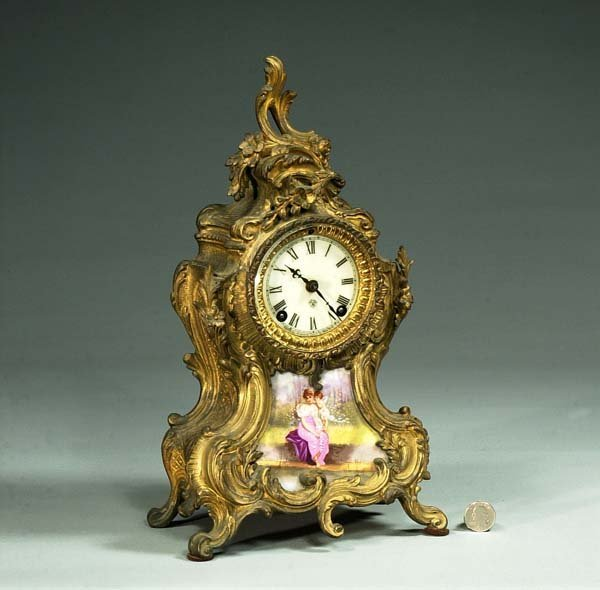1011: French style Ansonia mantle clock with porcelain