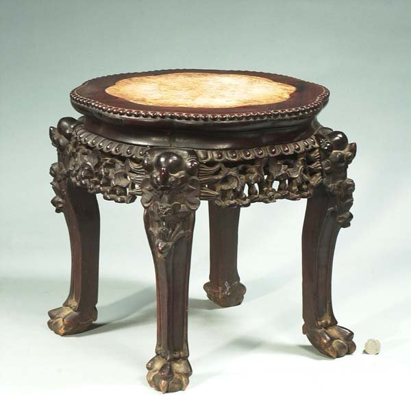 1013: Small Chinese carved teakwood stand with inset ma