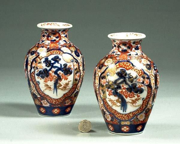 """1017: Pair of Imari porcelain vases, c.1870, 8"""" high"""