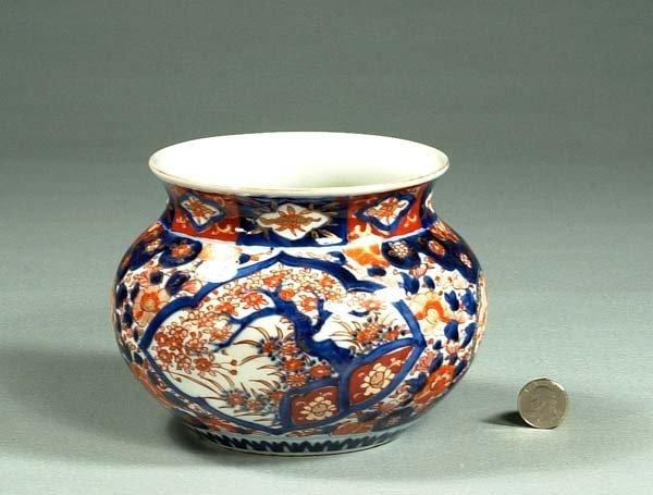 """1021: Imari porcelain cache-pot, c.1880, 7"""" diameter, 5"""
