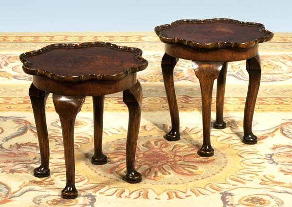 1024: Pair of small Queen Anne style walnut tables with