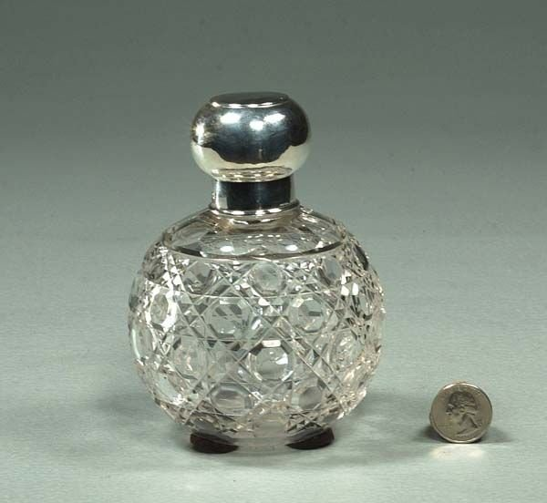 4: English cut crystal cologne bottle with silver mount