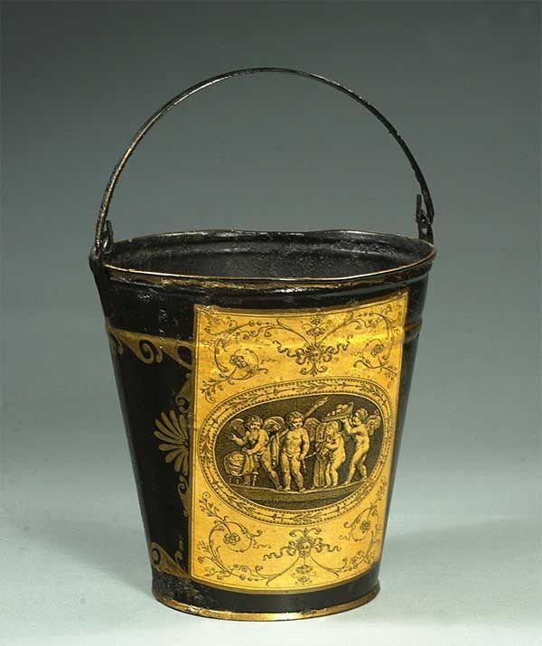 7: Metal bucket with scroll and cherub decoration, 11""