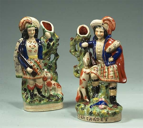 8: Two Staffordshire figures of Scottish hunters with t