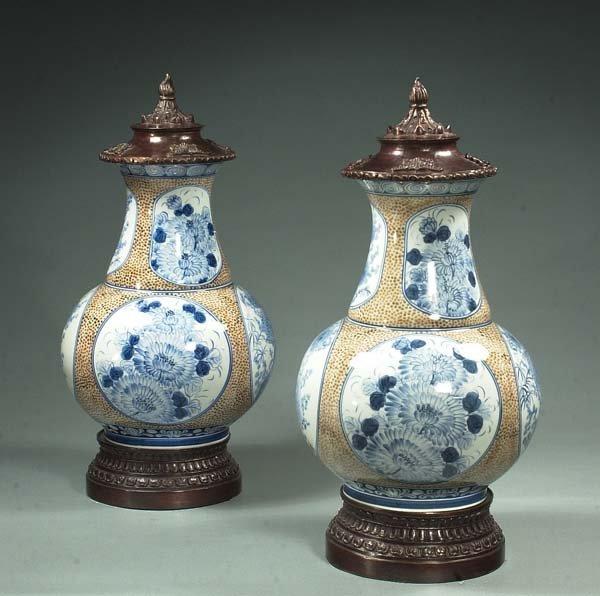 11: Pair of modern blue and white porcelain yen yen vas
