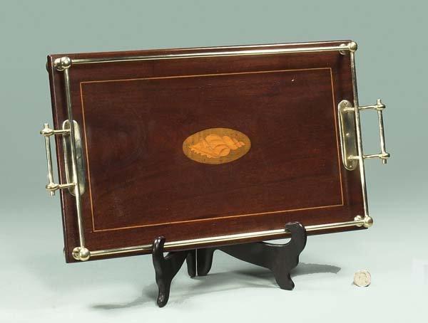 13: Sheraton style mahogany serving tray with satinwood