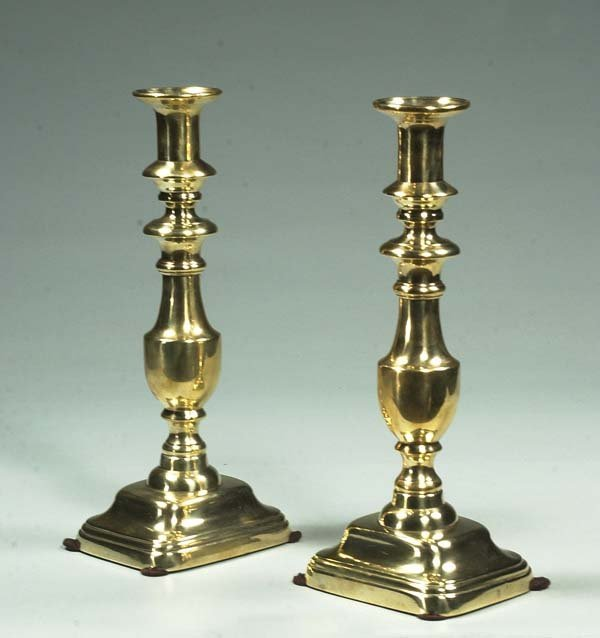 14: Pair of English brass bell shaped candlesticks, c.1