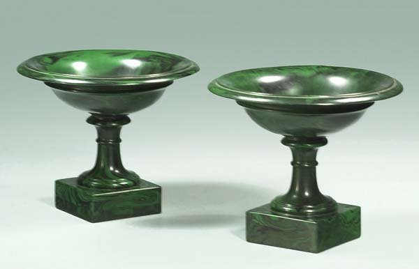 19: Pair of green tazzas on square bases (As Found), 8""