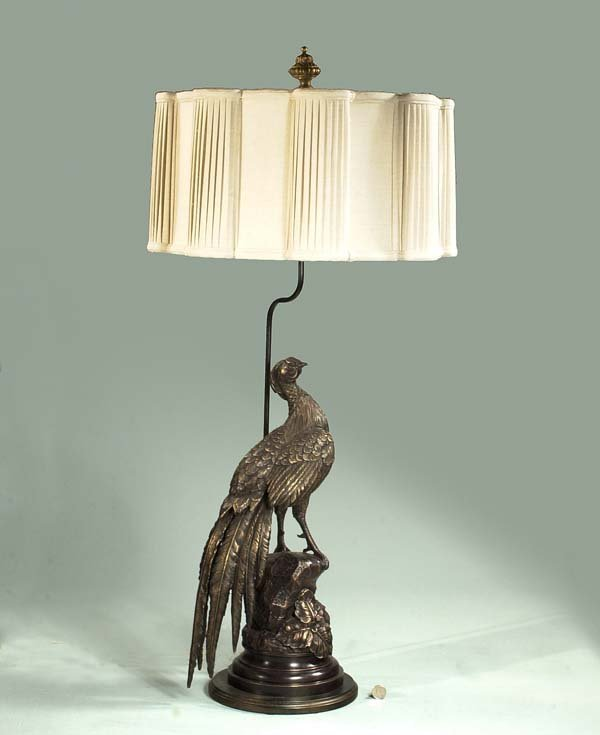 181: Bronze sculpture of a pheasant adapted as a lamp w