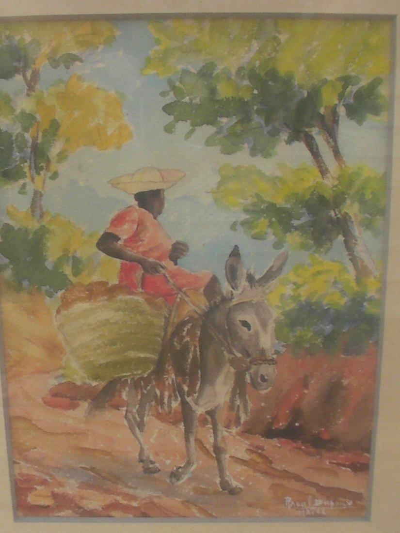 Raoul Dupoux Haitian Watercolor Painting