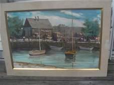 Frank Davis Oil Painting Sailboats and Fisherman