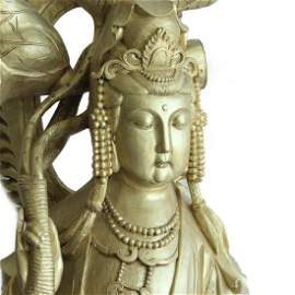 "Guan Yin Statue, 57"" Tall, Monumental Woodcarving"