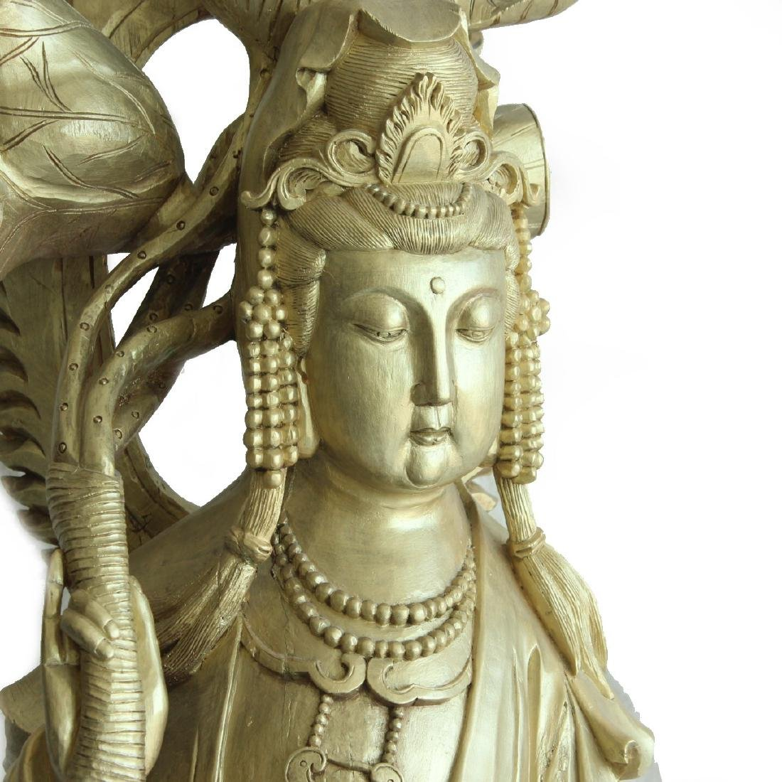 """Guan Yin Statue, 57"""" Tall, Monumental Woodcarving"""