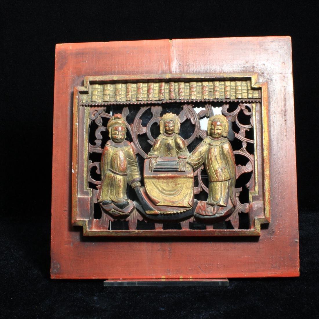 Carved Wooden Temple Door Panel