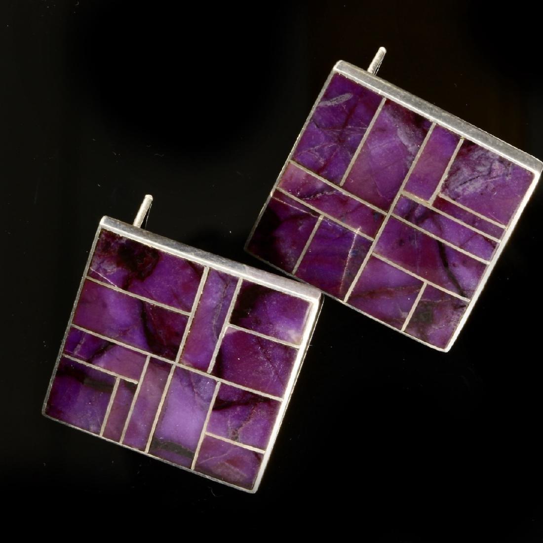Navajo Artisan Purple Sugilite Earrings