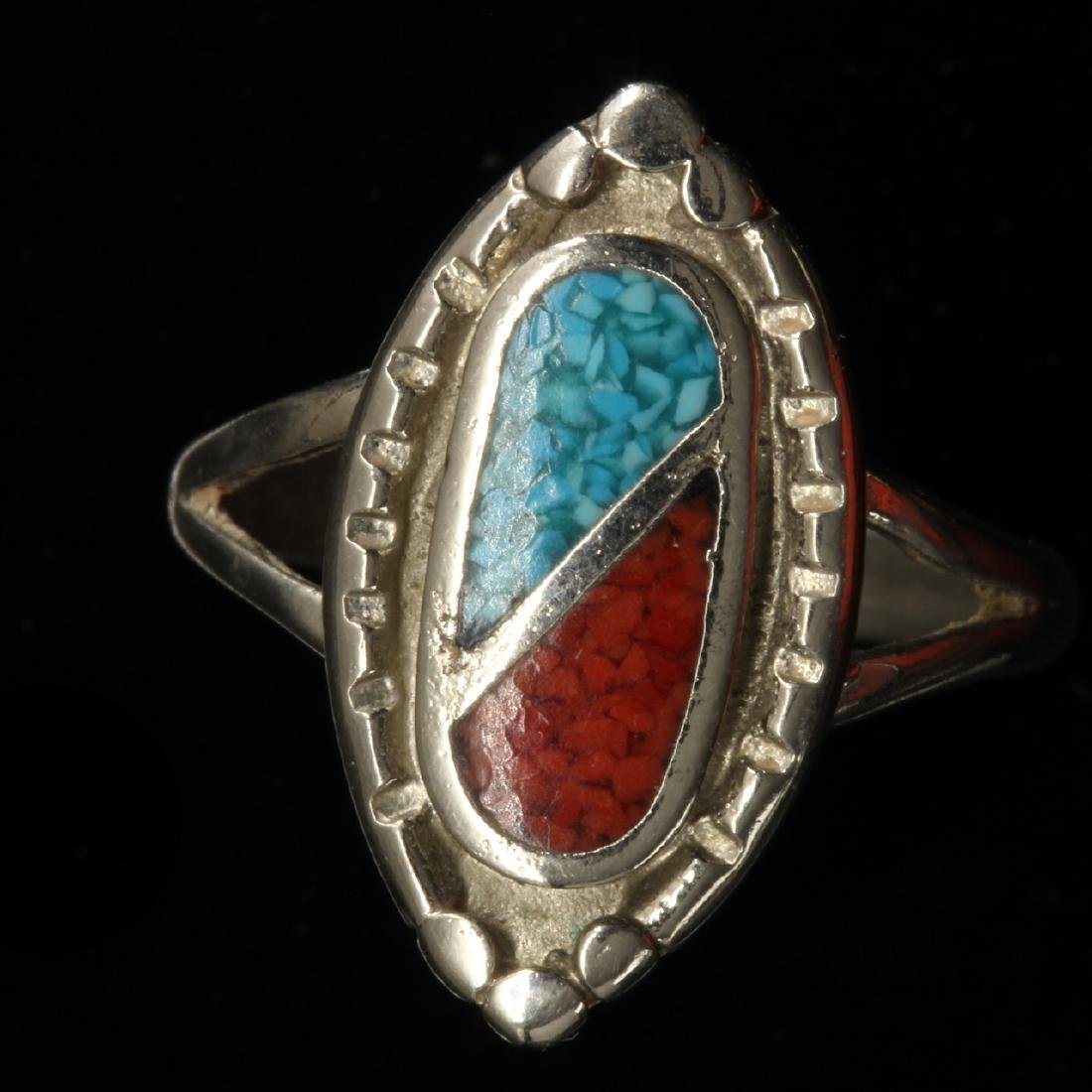 Turquoise, Coral and Silver Ring