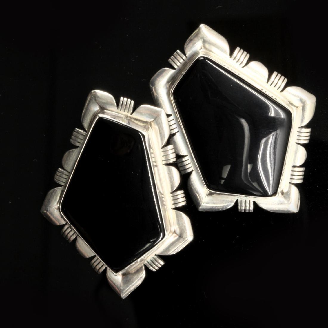 Onyx and Sterling Pentagonal Earrings
