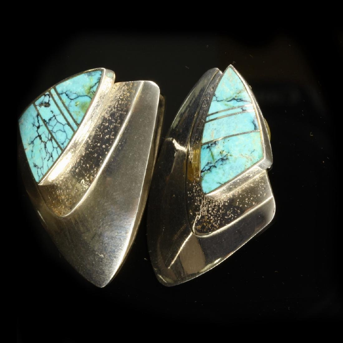 Silver and Turquoise Shield Shaped Earrings