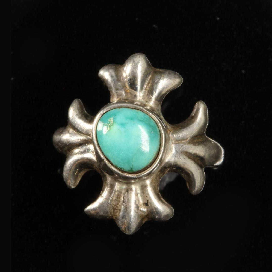Silver and Turquoise Star or Fleur Ring