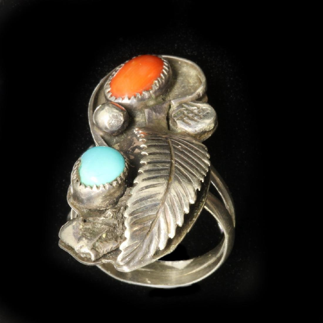 Turquoise, Coral and Silver Ring, Navajo