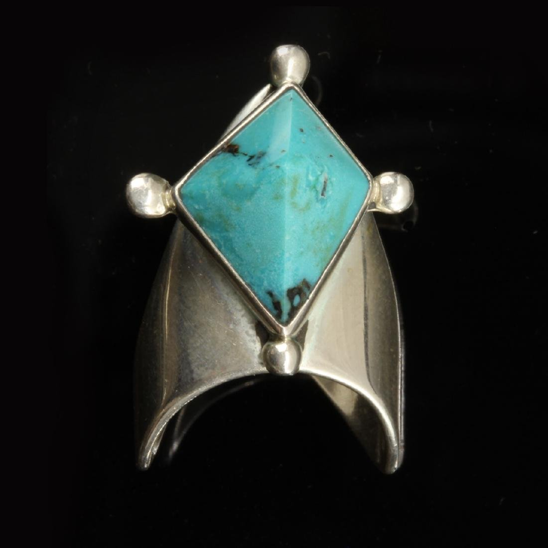 Turquoise and Silver Diamond Shaped Ring