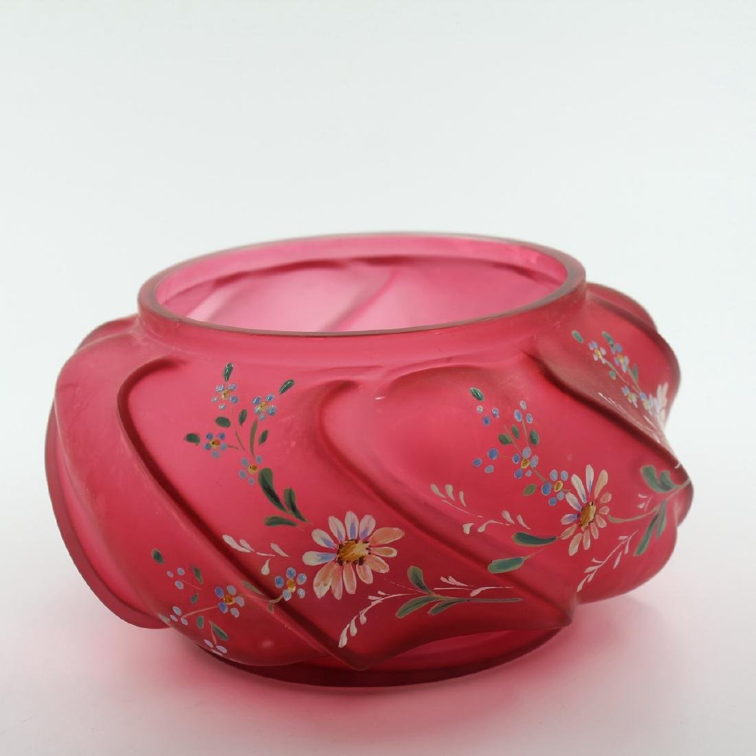 Cranberry Glass Covered Vanity Dish - 2
